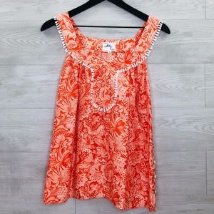 Milly of New York 100% silk Blouse Orange/white 2